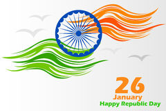 Indian tricolor flag background for Happy Republic Day. Vector illustration of Indian tricolor flag background for Happy Republic Day Royalty Free Stock Photo