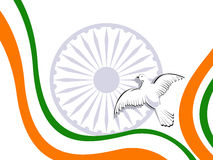 Indian tricolor flag with flying pigeons. Royalty Free Stock Photo