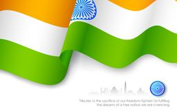 Indian Tricolor Flag. Illustration of Indian tricolor flag waving high Royalty Free Stock Photography