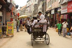 Indian trishaw on the street in Delhi Royalty Free Stock Image