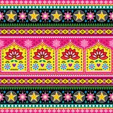 Indian truck art floral seamless folk art pattern, Pakistani Jingle trucks vector design,  vivid ornament with lotus flowers and a Stock Photos