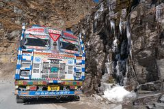 The indian truck and frozen stream stock image