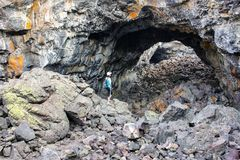 Indian Tunnel Cave in Craters of the Moon National Monument, Idaho, USA stock photos