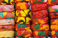 Indian turbans. Many colrful indian turbans on a market in Rajasthan Royalty Free Stock Image