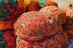Indian turbans. Rajasthan turbans on the market, Jaislamer, India Stock Photography