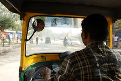 Indian tut-tut driver. In the city of Varanasi, India Stock Photography