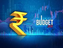 Indian union budget 2019, Indian economy, finance, blue abstract background, illustration vector illustration