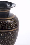 Indian Vase. Indian vase, a partial view shot on a white background in the vertical format Royalty Free Stock Photos