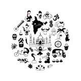 Indian vector icons circle set Stock Image