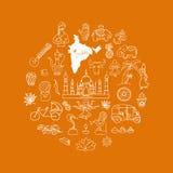 Indian vector icons circle set Royalty Free Stock Photos
