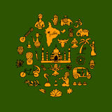 Indian vector icons circle set Royalty Free Stock Image