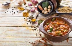 Indian vegetable jalfrezi. Portrait of indian vegetable jalfrezi with seasoning around and copy space Stock Photography