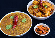 Indian vegetarian curries royalty free stock photography