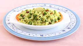 Indian Vegetarian Food Lemon Rice. A popular and traditional south Indian dish in a bowl Stock Photos