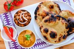 Indian vegetarian main course. Indian veg main course consisting of tandoori roti, pindi chole and vegetarian korma Stock Images