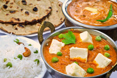 Indian Vegetarian meal. Indian vegeterian meal with Shahi paneer, Dal makhani,Tandoori Roti and Rice Royalty Free Stock Image