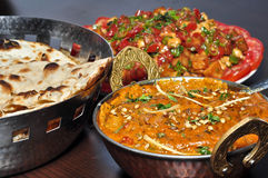 Indian Vegetarian meal. Indian vegeterian meal with Shahi paneer,Tandoori Roti and Chana Chat Royalty Free Stock Image