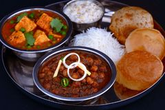Indian vegetarian thali for lunch or dinner stock photo
