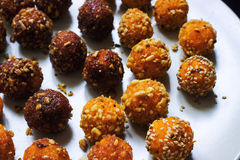 Indian veggie sweet. homemade diet candy laddu. On a wite plate Royalty Free Stock Image