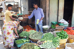 Indian vendors and customers in the Devaraja vegetable market Royalty Free Stock Photography