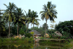 Indian village. A distance view of a Indian village stock photo