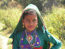 Indian Village Girl. A beautiful Indian Image Girl all set for a local fair in near Balaram Wildlife Sanctuary Gujarat royalty free stock photos