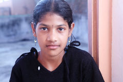 Indian Village Girl. Portrait of Indian Village Girl with Expression Stock Photos