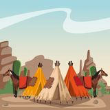 Indian village at landscape. Indian village with horses and tents vector illustration graphic design vector illustration