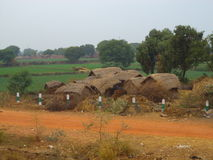 Indian Village Scene. Cluster of huts in an Indian village with green fields behind them royalty free stock photography