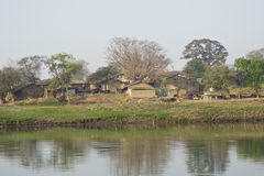Indian Village Scenery. Madhya Pradesh  Malwa Area on the Bank of River Royalty Free Stock Images