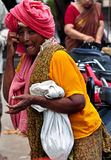Indian village women. Begging for alms outside a temple Royalty Free Stock Photo