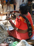 Indian villager sells dried fish Stock Image