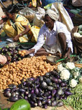 Indian villagers sell dal  and other vegetables Royalty Free Stock Photography