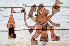 Indian wall painting. Indian Painting, Jaisalmer, Rajastan, India Royalty Free Stock Photos