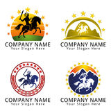 Indian War with Sword and Horse Concept Logo Royalty Free Stock Photos