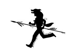 Indian warrior running with spear Stock Image