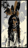 Indian Warrior, Sitting Bull portrait - Freehand sketch, vector Stock Photography