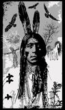 Indian Warrior, Sitting Bull portrait - Freehand sketch, vector Royalty Free Stock Photos
