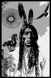 Indian Warrior, Sitting Bull portrait - Freehand sketch, vector Royalty Free Stock Image