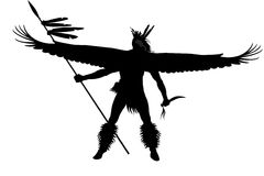 Indian warrior with wings and weapon Stock Image