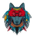 Indian warrior wolf Royalty Free Stock Photos