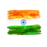 Indian watercolor flag. Indian hand drawn watercolor flag. Creative watercolor background in national flag tricolors. India Independence Day. Template for cover Stock Image