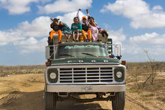 Indian Wayuu traveling on a truck in La Guajira, Colombia Stock Photos