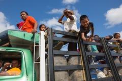 Indian Wayuu traveling on a truck in La Guajira Stock Photo