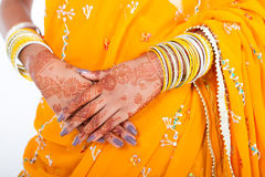 Indian wedding bride. Hands with henna Stock Image