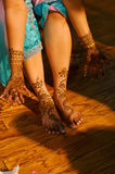 Indian wedding bride getting henna applied Royalty Free Stock Images