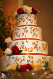 Indian Wedding Cake. Wedding cake with Indian designs and flowers Stock Photo