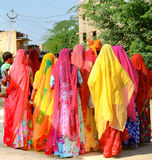 Indian wedding, Chandalao, Rajasthan, India. Women wearing colourful traditional clothing for the wedding procession to the temple Royalty Free Stock Photo