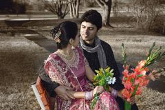 Indian Wedding Couple. Beautiful newly married Indian couple chatting in the park Royalty Free Stock Photos