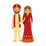 Indian wedding couple. In traditional clothing. Cute cartoon vector illustration Stock Image